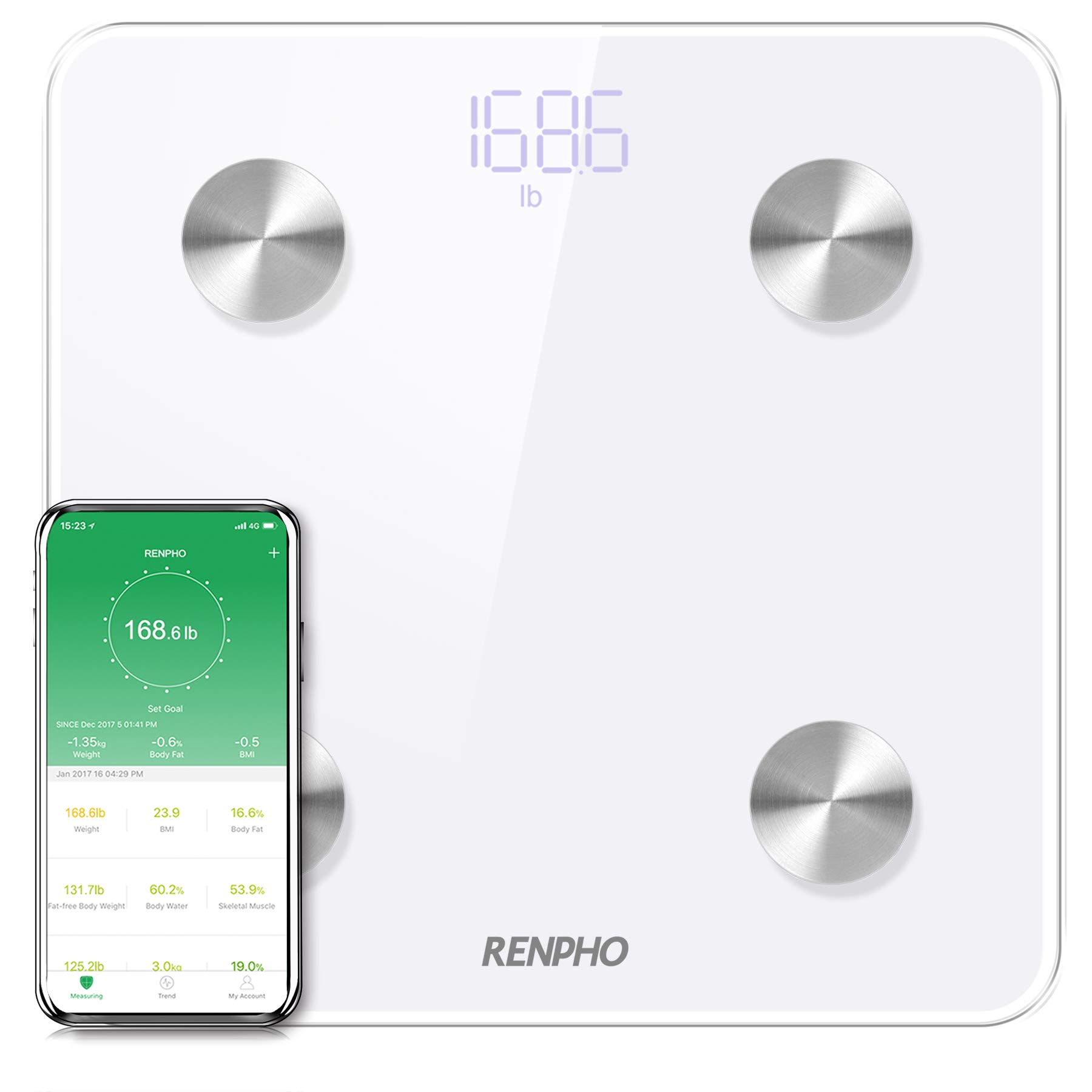 RENPHO Bluetooth Body Fat Scale Smart Digital Bathroom Weight BMI Scale Body Composition Monitor Analyzer with Smartphone App 396 lbs - White by RENPHO