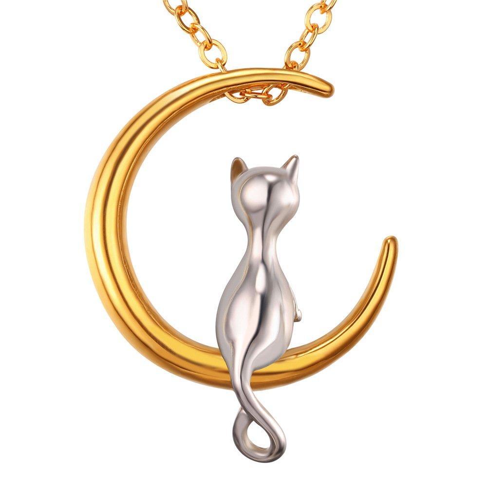 U7 Collier Lune Chat Femme Pendentif Chaîne Acier Plaqué Or Jaune 18K Animal Mignon Bijoux Doré pour Fille - Bicolore HMD-GP2419