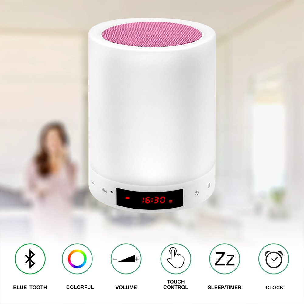 X1 Night Lights Bluetooth Speaker,Bedside Lamp Touch Control Alarm Clock Color LED Color Changing Wireless Speaker with Lights USB AUX MP3 Music Player for Kids,Party,Bedroom,Outdoor
