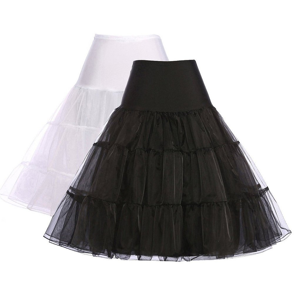 Ladyjiao Women's 50s Vintage Rockabilly Petticoat Skirt Puffy Underskirt Slips 2 pack S