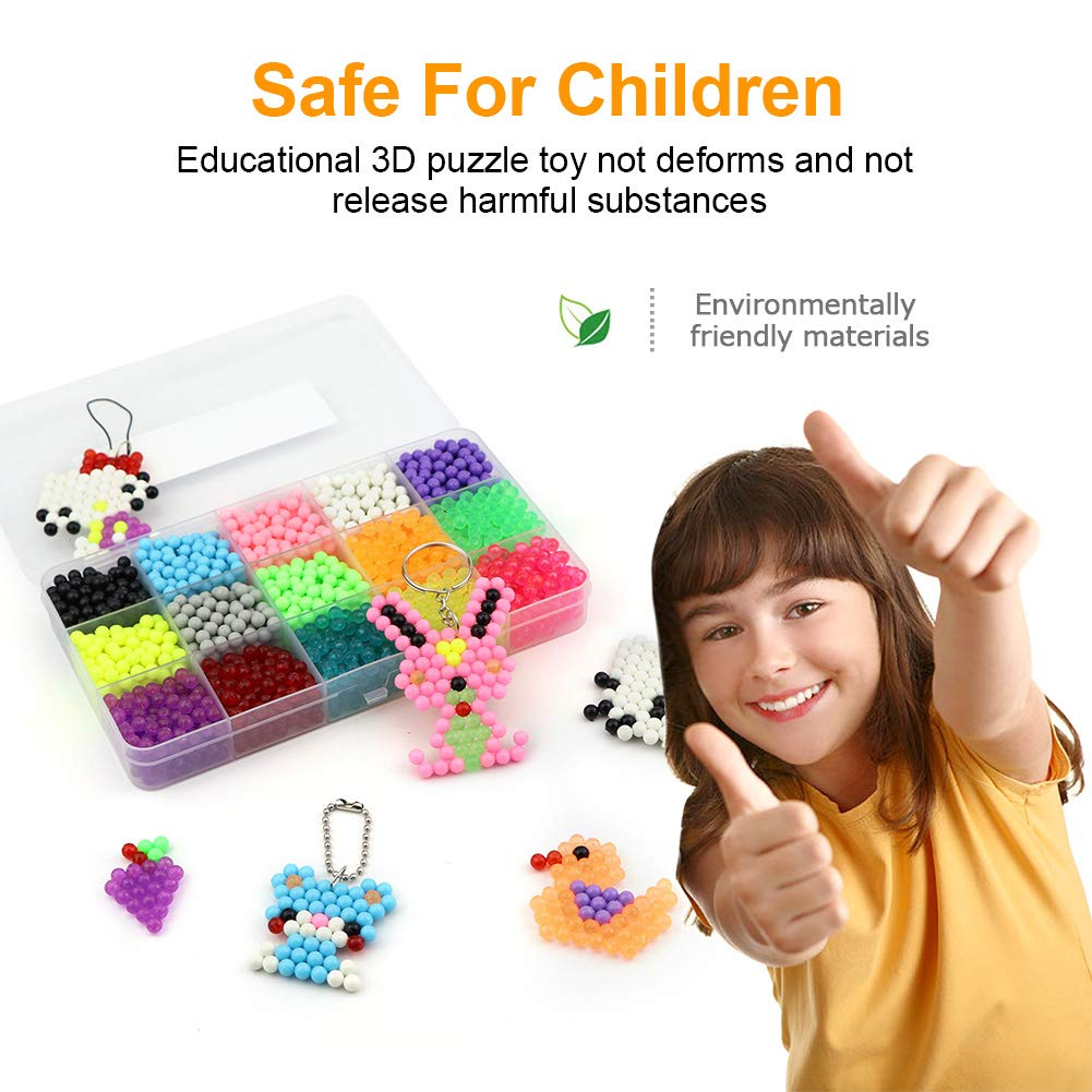 SENWOW 2400pcs Water Fog Magic Beads Set Puzzle Intelligent 3D Games Educational Toys for Kids Children
