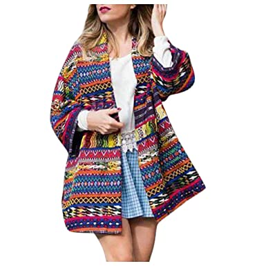 Amazon.com: NREALY Chaqueta Womens Open Front Printed ...