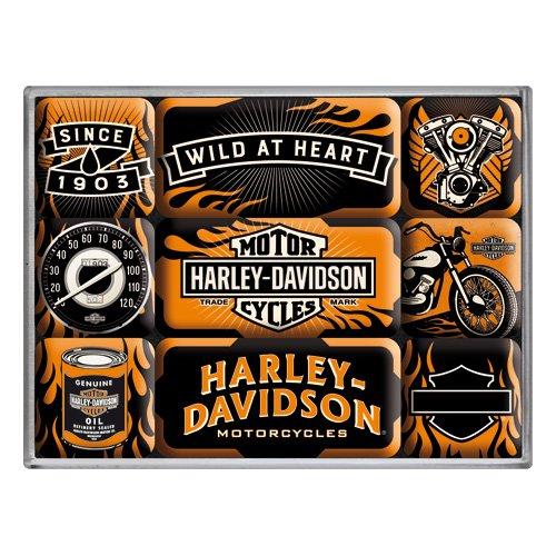 Nostalgic-Art 83037 Harley-Davidson - Bikes, Magnet-Set (9teilig) Nostalgic Art