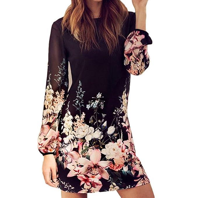 Juleya Damen Blumen Muster Rundhals Casual Blusenkleid Kleider ...