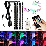 AMBOTHER 4Pcs Car LED Interior Light Neon Floor Atmosphere Decorative Underdash Strip Lights Kit, 48-LEDs Multi Color with Sound Active and IR Wireless Remote Control, Dual Smart USB Ports Car Charger