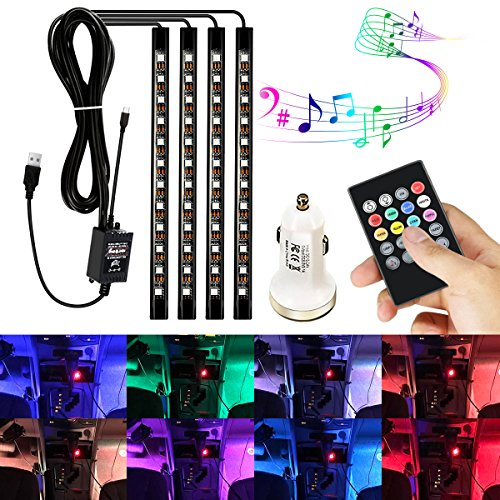 AMBOTHER 4Pcs Car LED Interior Light Neon Floor Atmosphere Decorative Underdash Strip Lights Kit, 48-LEDs Multi Color with Sound Active and IR Wireless Remote Control, Dual Smart USB Ports Car (12 Inch Neon Car Light)