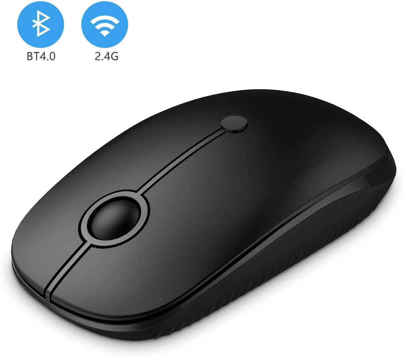 Jelly Comb 2.4G Ratón Inalámbrico + Bluetooth Mouse Dual Models Wireless y Bluetooth Silent para Tablet PC Macbook Smartphone-Negro