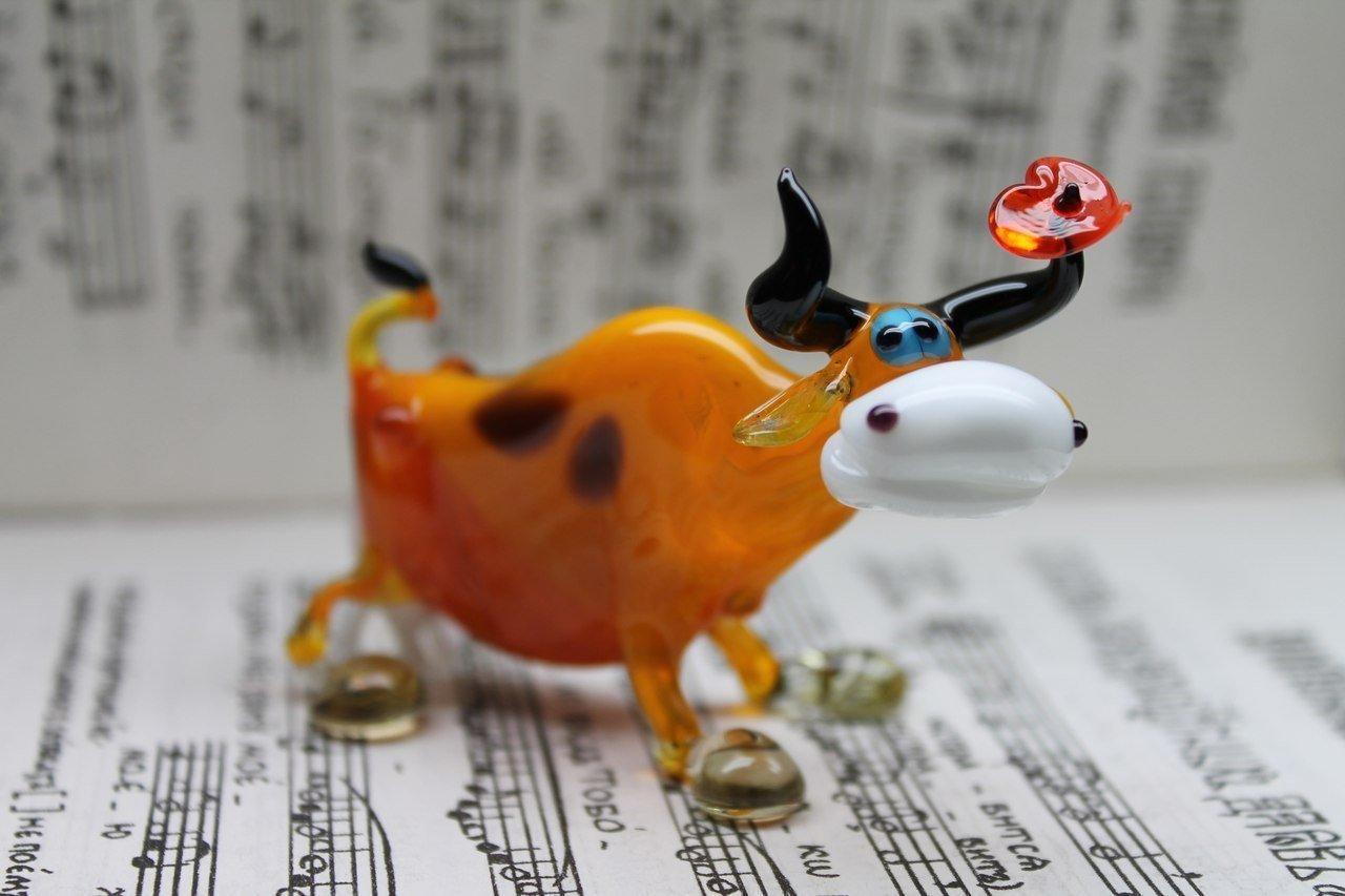 Brown Cow Glass - Figurine Glass Cow - Glass Animal Sculpture - Glass Figurine - Glass Figure - Glass Animals Figurines- Glass Art