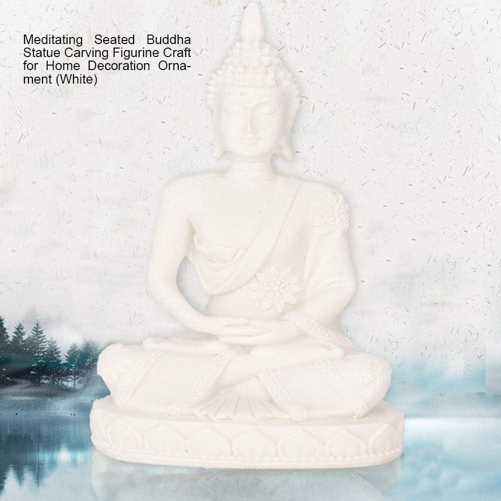 Raguso Statua di Buddha Seduto Mini meditando Intaglio Figurine Artigianato per la Decorazione Domestica Ornamento da Tavolo Bianca