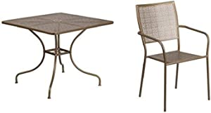 Flash Furniture 35.5'' Square Gold Indoor-Outdoor Steel Patio Table Set with 4 Square Back Chairs