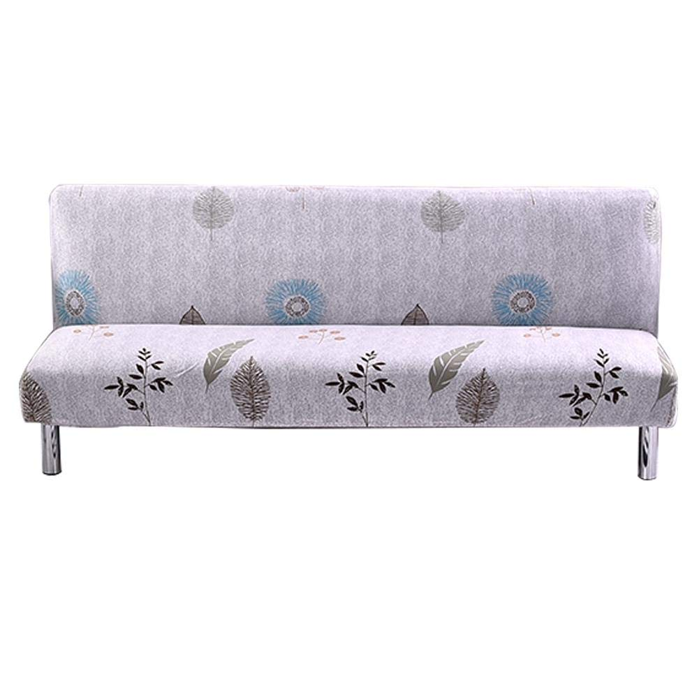 Sundlight Sofa Bed Cover, Polyester Spandex Armless Sofa Cover Printed Folding Elastic Futon Slipcover