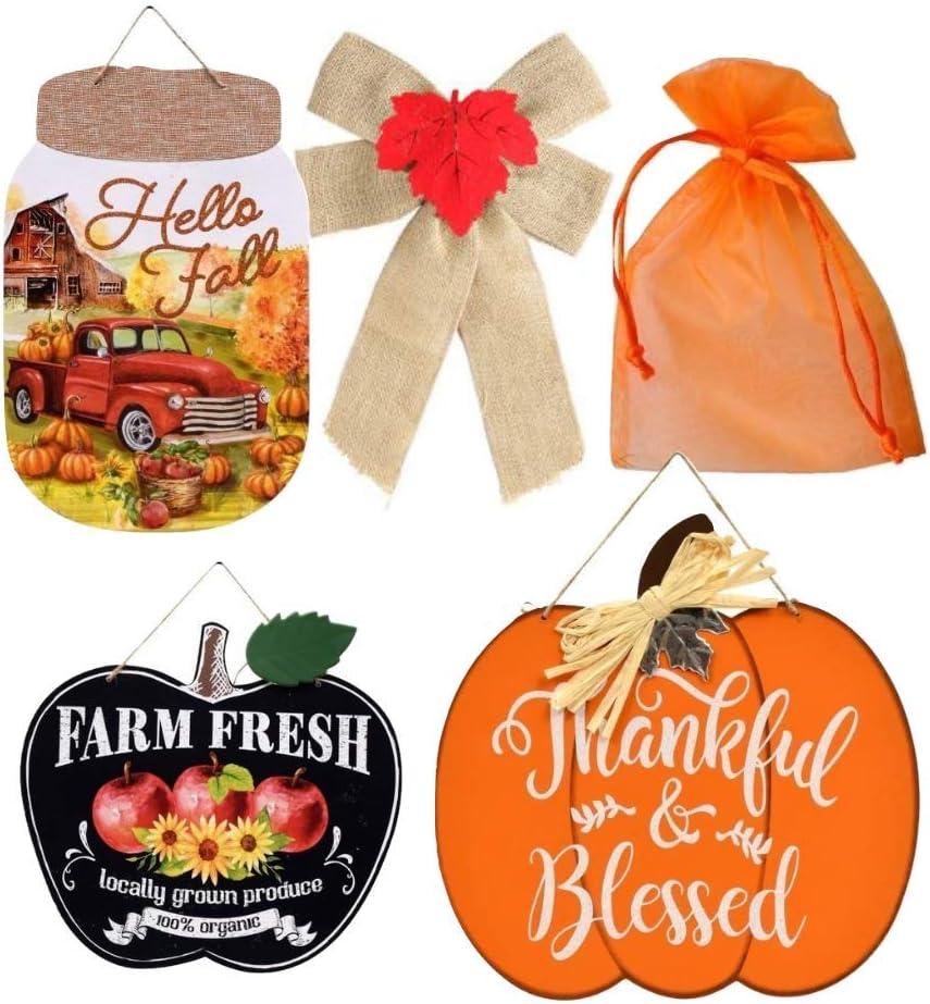 """Harvest Thankful Pumpkin Shaped Chalkboard Wall Decoration Sign 9.5/""""X12/"""" w"""