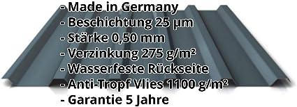 St/ärke 0,45 mm Farbe Anthrazitgrau Beschichtung 25 /µm Profil PS35//1035TR Dachblech Material Stahl Trapezblech Profilblech
