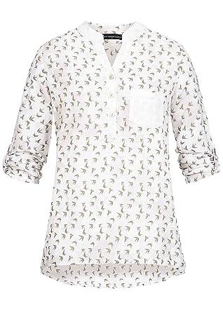 Styleboom Fashion Damen Bluse Turn-Up Ärmel Brusttasche Pailletten Vögel Muster  weiss 09725d1897