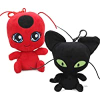 Honeytoy Ladybug Plagg & Tikki Cat Noir Plush Toys Adrien Marinette Stuffed Animal Doll - 2Pcs/Set