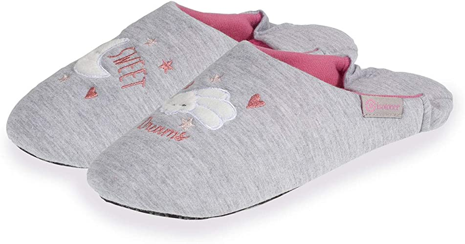 Isotoner Chaussons Babouches Femme Broderie Nuage