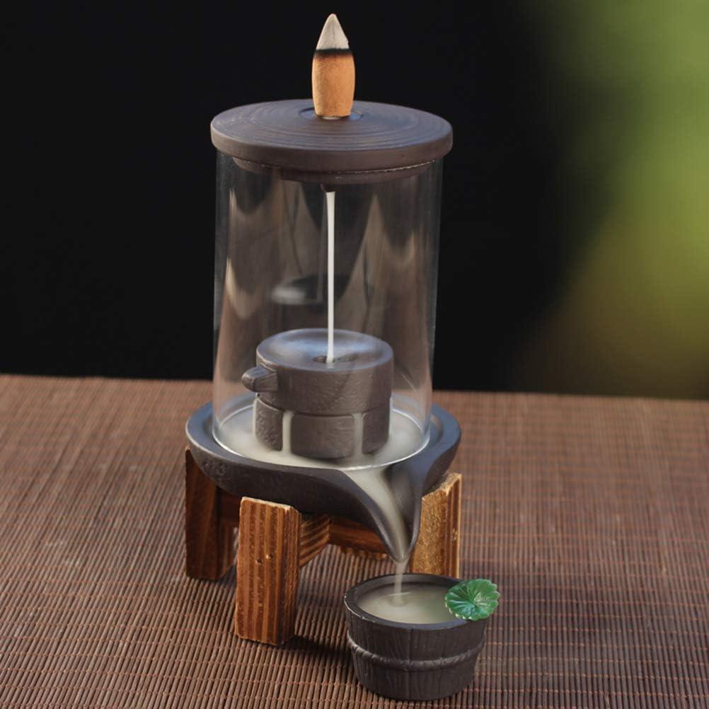Mayco Bell Quemador de Incienso con Cubierta Protectora de acrílico de cerámica para Cascada de Humo y Incienso
