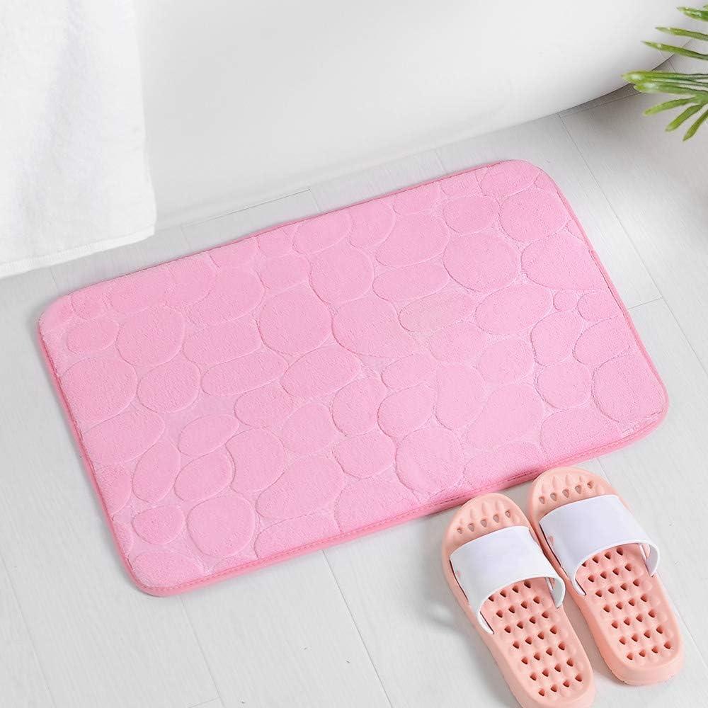 Memory Foam Bath Mat Non Slip Full Size 60 x 40 cm,Super Soft Pedestal,Pebble Design Soft Velvet Surface Anti Slip Rubber Backing Machine Washable Shower Mat,Pink,60x40cm