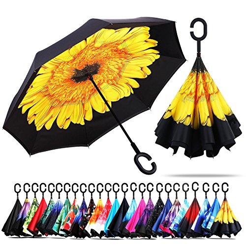 Windproof Double Layer Folding Inverted Umbrella, Self Stand Upside-down Rain Protection Car Reverse Umbrellas with C-shaped Handle (New Sunflower) (Umbrella Down)