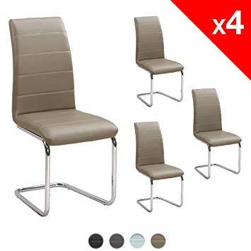 KAYELLES LUXUS Chaises Design Salle Manger Lot 4 Salon Simili Cuir Et Chrome