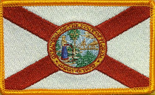 FLORIDA STATE Flag Iron On Patch Embroidery Tactical Morale Patch Military / Police Patch #16 (GOLD ()