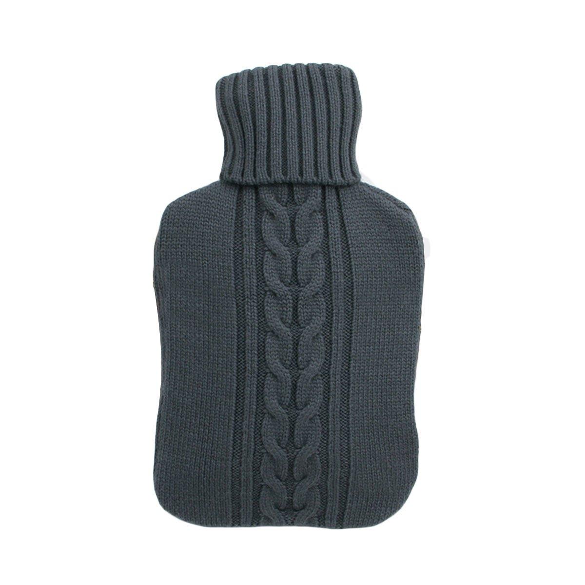 gris VORCOOL Funda de punto suave 2L Premium para bolsa de botella de agua caliente