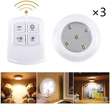 MadPrice - Juego de 3 focos de luz con 5 LED y Mando a Distancia para Armario, Escalera Redonda: Amazon.es: Electrónica