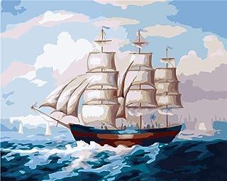 LISHIHAOZY Dipingere con I Numeri Picture Wall Art Disegno di Numeri su Tela per La Decorazione Domestica Regali Speciali(Senza Telaio) Barca A Vela
