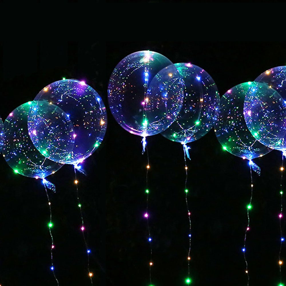 18 inch Led Clear Foil Helium BoBo Balloon Lights with 10-feet LED String Light for Outdoor/Indoor Party/Festival/Birthday/Wedding/Christmas Party Decoration (Colorful - 5-Pack)