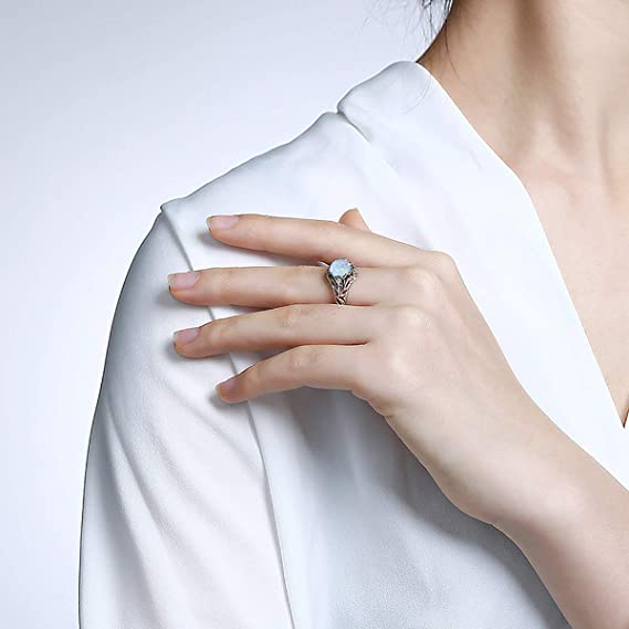 Natural Gemstone Ring Blue Opal Ring Boho Ring 925Sterling Silver Ring Handmade Jewelry Teardrop Opal Ring,Beautiful Dainty Trendy Midi