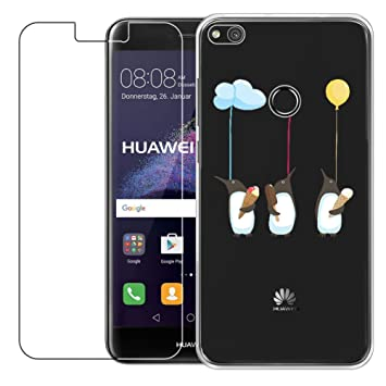 Funda Huawei P8 Lite 2017 [con Protector de Pantalla de Vidrio Temperado] Blossom01 Ultra Fina de Gel de Silicona TPU Carcasa Huawei P8 Lite 2017 ...