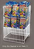 New White Square Dump Bin Basket 16''/400mm Plastic Coated for Retail Shops