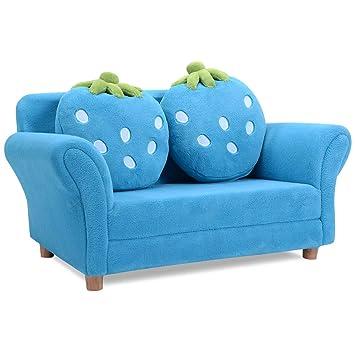 Sofá para Niños 2 Plazas Sofás Infantiles 90x54,8x48CM Mini Sofá con Cojín y 2 Almohadas Extraíbles Asiento Sofá para Niños (Azul)
