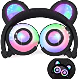 iGeeKid Kids Headphones Bear Ear-Inspired USB Rechargeable LED Backlight,Wired On/Over Ear Gaming Headsets 85dB Volume Limited for Girls,Boys,Compatible for Kids Tablet,iPad,iPhone,Android,PC(Black)