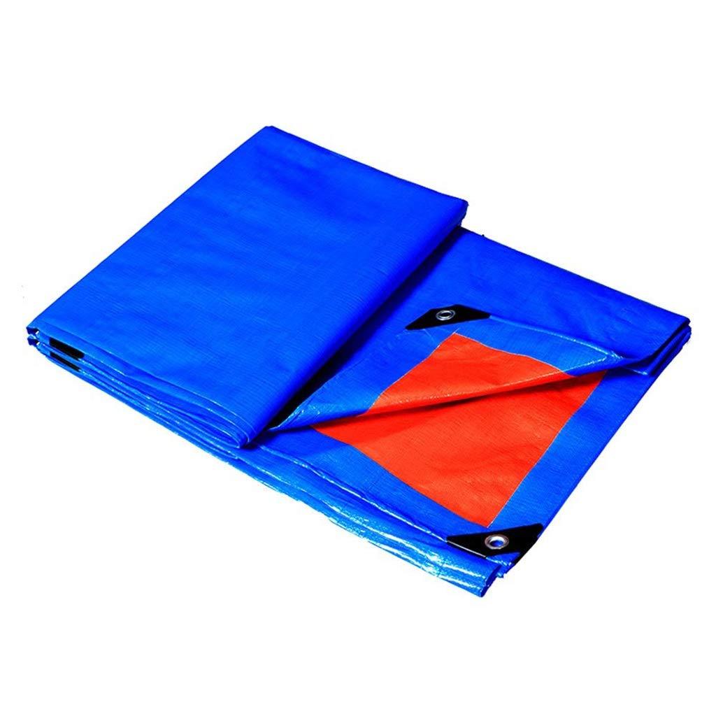 ターポリン アイレット付き厚手ガーデンターポリン防雨タープシート日焼け止め布防雨オーニングシェード - 160g /m²、ブルー+オレンジ (サイズ さいず : 5mx6m) B07SDMN9S7  5mx6m