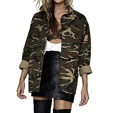 Camo Jacket Jingjing1 Women Casual Stand Collar Long Sleeve Zip Up Military  Coat (M 095332b4f3