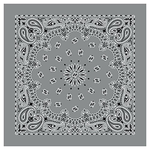 "(100% Cotton Western Paisley Bandanas (22"" x 22"") Made in USA - Silver Single Piece 22x22 - Use For Handkerchief, Headband, Cowboy Party, Wristband, Head Scarf - Double Sided)"