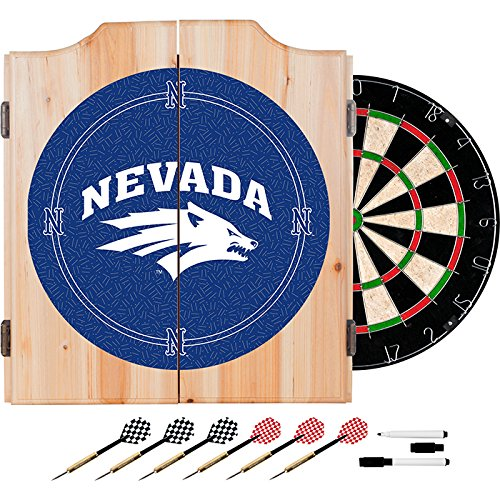 University of Nevada Deluxe Solid Wood Cabinet Complete Dart Set - Officially Licensed! by TMG