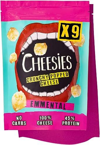Snack de Queso Crujiente Cheesies, Emmental. Sin Carbohidratos, Alto en Proteínas, Sin Gluten, Vegetariano, Ceto. 9 Bolsas de 90g.