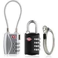 2個セット TSAロック 南京錠 4桁+3桁ダイヤル式 鍵 旅行用品 安心 小型 ワイヤーロープ付き (ブラック+シルバー)