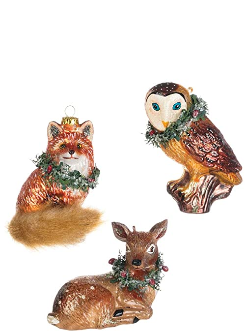Image Unavailable - Amazon.com: Sullivans Woodland Animals, Painted Glass Christmas