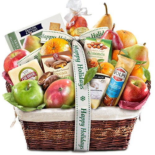 Gourmet Abundance Fruit Basket Gift (Happy Holidays) (Christmas For Boxes Cheese)