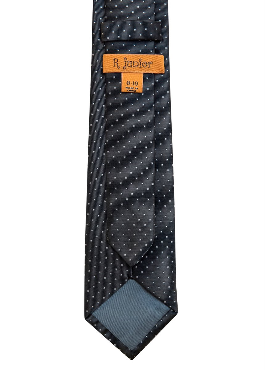 Retreez Pin Dots Woven Microfiber Boy's Tie (8-10 years) - Grey with Light Grey Pin Dots by Retreez (Image #3)