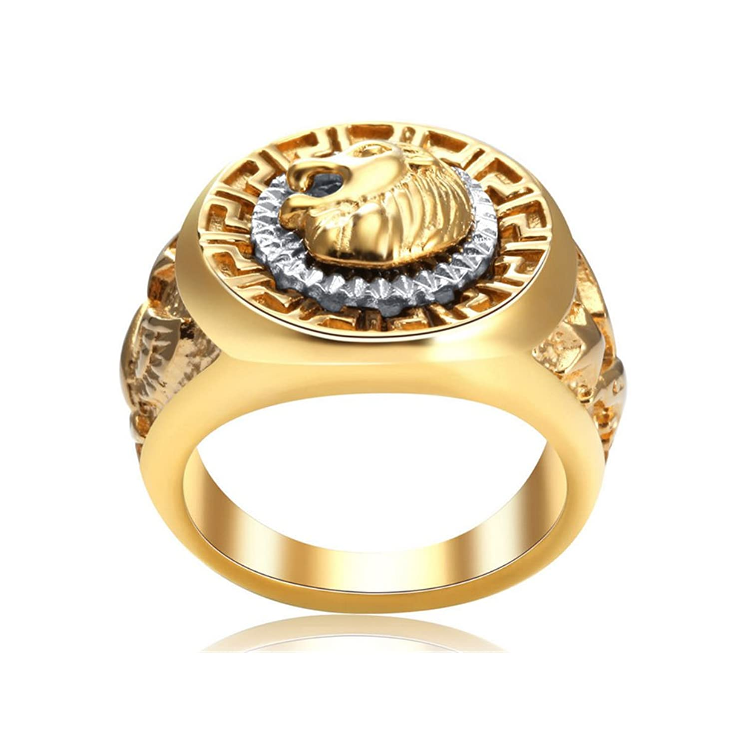 ring tusk lions men rings stainless product quality angels solid lion iron high head steel
