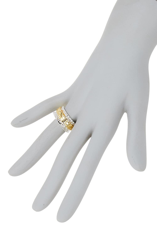Gemaholique Floral Pattern Two Tone Hammered 18k Gold Clad Wholesale Meditation Spinner Ring