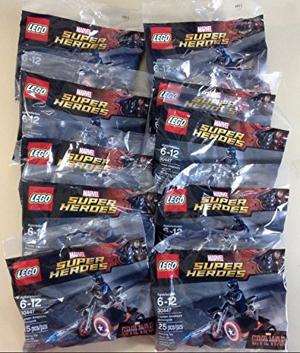 10 X LEGO Marvel Captain America Civil War Captain Americas Motorcycle Mini Set #30447 [Bagged]