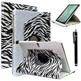 Tab S 10.5 Case, Galaxy Tab S 10.5 Case, Style4U [Everlasting Shine] Shiny Colorful Zebra Print Design 360 Rotating PU Leather Stand Bling Case Cover for Samsung Galaxy Tab S 10.5 (10.5 Inch) Tablet with 1 Stylus [Silver]