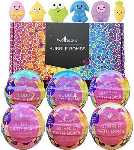 Squishy Bubble Bath Bombs for Kids with Surprise Squishy Toys Inside by Two Sisters. 6 Large 99% Natural Fizzies in Gift Box. Moisturizes Dry Skin. Releases Color, Scent, Bubbles (Easter Squishy)