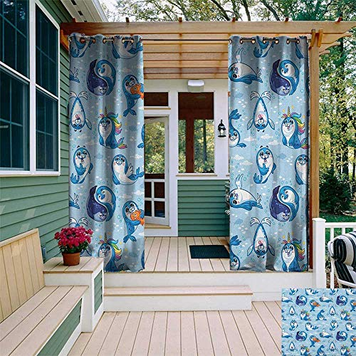 Seal Pup Tiger - leinuoyi Sea Animals, Outdoor Curtain Set, Seal Pup Cartoon Aquatic Wildlife Friendly Hugging Water Bubbles Kids, for Patio W108 x L108 Inch Blue White Marigold