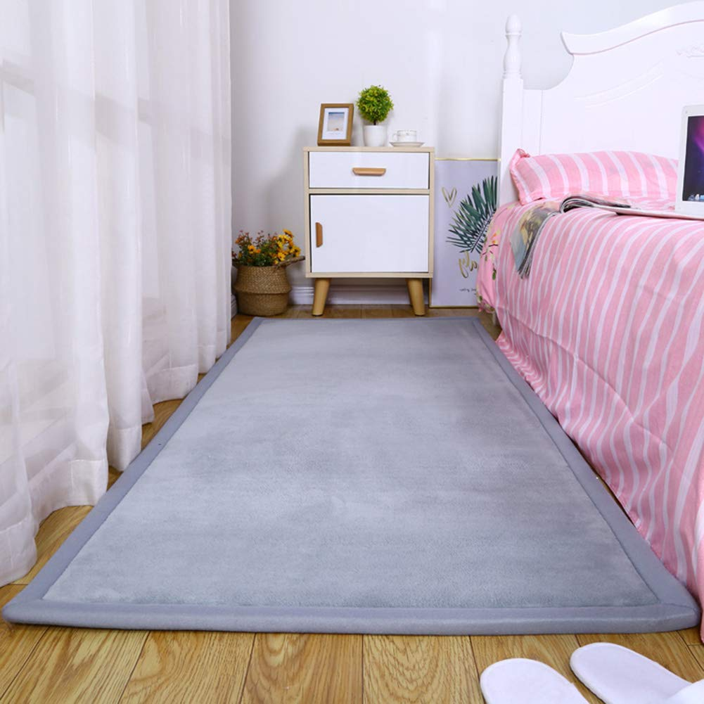 ZYLHC Baby Play Mat, Thicken Japanese Coral Velvet Carpet Children Crawl Mat for Living Room Bedroom Foldable Tatami Mat Soft Foam Mat-Gray 60x160cm(23x63inch) by ZYLHC